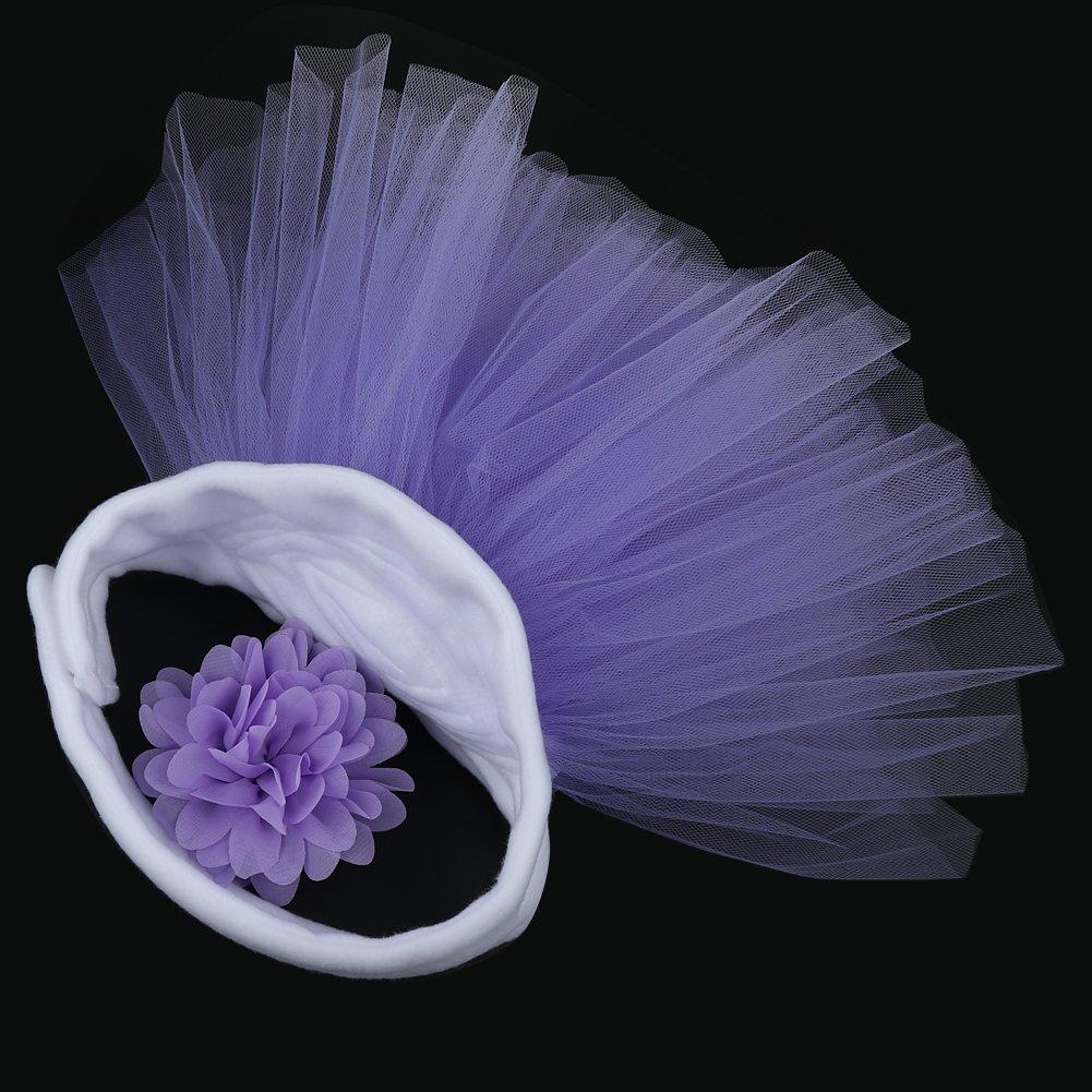 Jubileens Baby Infant Girls Photography Prop 2PCS Tutu Dress Headband Costume (Purple)