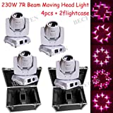 Shipping from US White shell 230w 7R sharpy moving head beam dj spot lighting 4pcs with 2 fly case