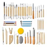 Lighwish 51Pcs/Set Pottery Clay Sculpture Tools Plasticine Carving Tool Set for Brushing Scraping Cleaning Wood and Stainless Steel (Color: 51pcs/Set)