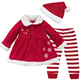 YiZYiF Baby Girls Christmas Santa Claus Dress Leggings Hat Outfit Xmas Costume 12 Months (Color: Red White, Tamaño: 12 Months)