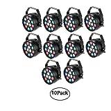 Lixada 10 Packs DMX-512 RGBW LED Stage PAR Light Strobe Professional 8 Channel Party Disco DJ Show 15W AC 100-240V (Color: 10PCS)