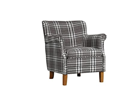 Birlea Alderley Chair, Fabric, Grey Check