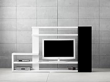 Alpisedia 20428 Meuble TV/Hifi Paroi, Noir et Blanc MDF 235 x 37.5 x 135 cm