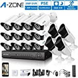 A-ZONE 16 CH 1080P DVR AHD Security Camera 16 System W/12x HD 960P 1.3MP Fixed Camera Home Surveillance System & 4x HD 1.3MP Varifocal Camera IR 2.8-12mm Lens Camera-Including 2TB HDD (Color: 16CH DVR 16PCS 960P Camera with 2TB HDD)