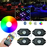 Wiipro RGB LED Rock Lights Kit 4 Pods Neon Underglow Lighting with Cellphone APP Bluetooth Control & Timing & Flashing & Music Mode for JEEP Off Road Truck Car ATV SUV Yacht Boat Interior