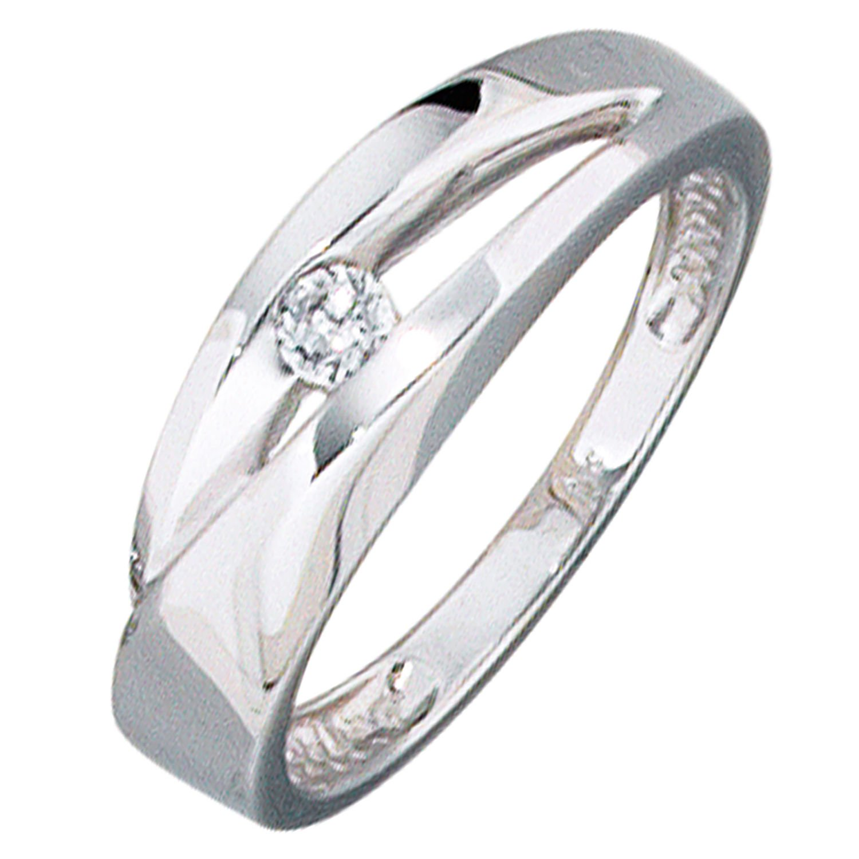 JOBO Damen-Ring 375 Gold Weißgold 1 Zirkonia bestellen