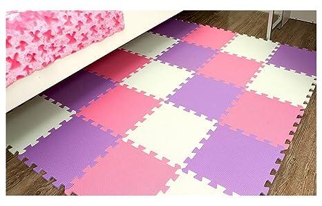 Tianmei Blanc & Violet & Rose Tapis de Jeux & d'Eveil Tapis de jeu en mousse tapis Puzzle Ensemble de 10 tapis mousse de sol