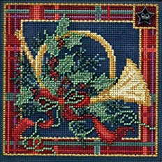 Mill Hill Button & Beads Christmas Counted Cross Stitch Kit w/ Glass Beads & Ceramic Button French Horn MH144306