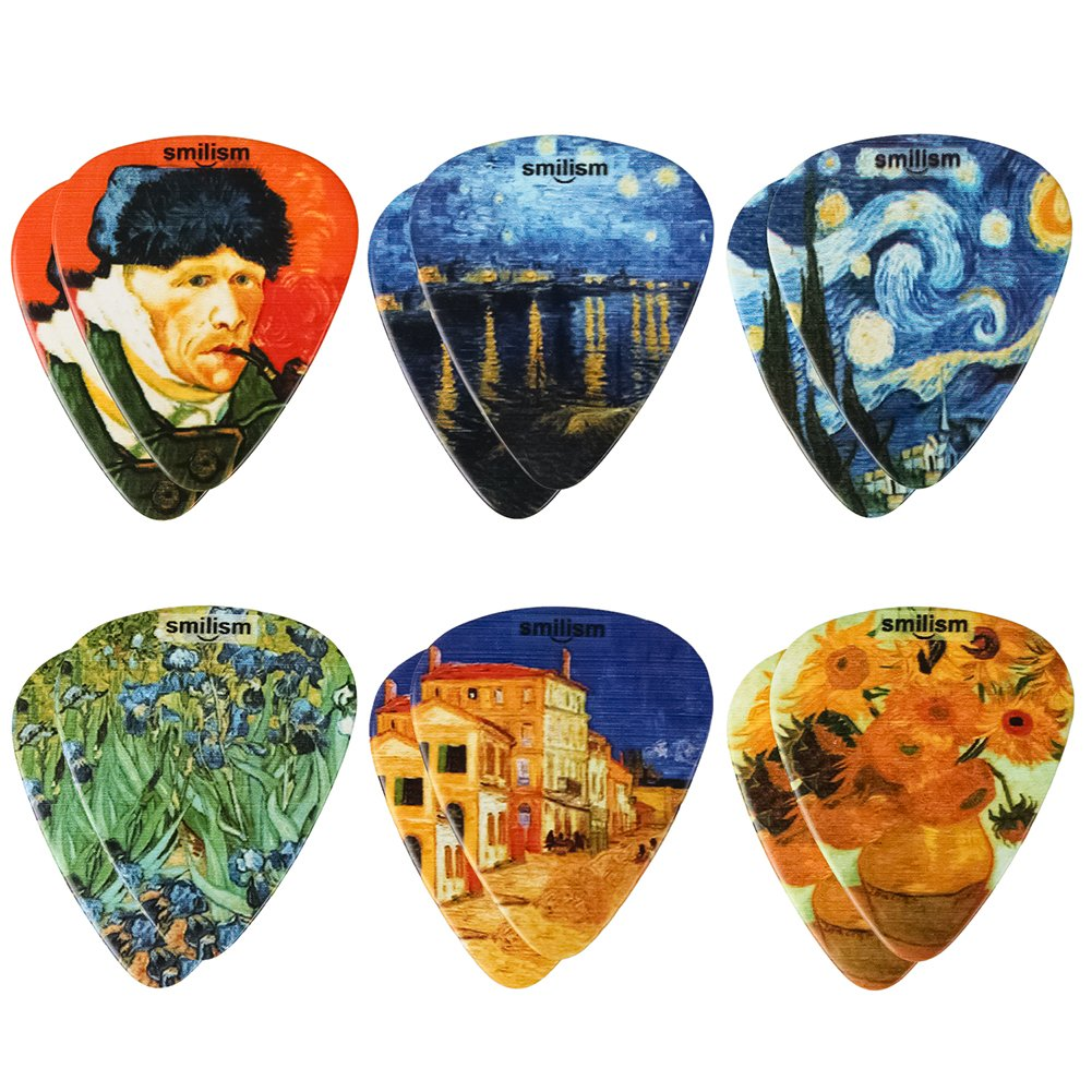 Guitar Picks, Smilism Pearl Celluloid Unique Van Gogh - 12 Pack - Sunflowers, The Starry Night, Self-portrait with bandaged ear, Irises, Starry Night over the Rhone Best Gifts for Guitarist