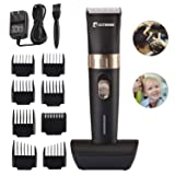 BESTBOMG Cordless Hair Clipper Kit for Men,Speed Adjustable Hair Trimmer with Ceramic Blade,Rechargeable Hair Cutting Machine with 8 Guide Combs Used for Family Hairdressing (Color: silver)