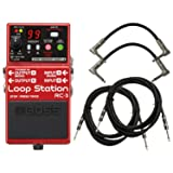 Boss RC 3 Loop Station Bundle w/4 Free Cables (Color: Red)