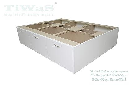 Schubladensockel DeLuxe fur Wasserbett mit 6 Schubladen Dekor Weiß fur Bettgröße 160x200cm 40cm hoch