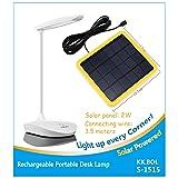 KK.BOL Solar Desk Lamp Three Levels Dimmable Led Table Lamp for Reading Bedside Light Night Light (Color: White-1)