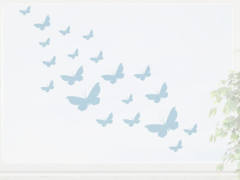 wandfabrik – Fenstersticker 20 Schmetterlinge Set 1 – blue – 738 – (Hg) jetzt kaufen
