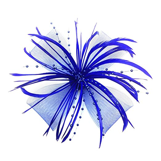 Womens Chrysanthemum Style Flower with Feather Clip Fascinator (Bright Blue)