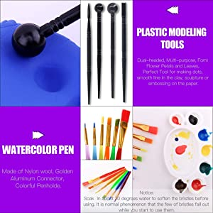 Swpeet 26Pcs Modeling Clay Sculpting Tools Kits, Handle Double-Sided Set, Watercolor Pens, Wooden Dotting Tools, Plastic Ball Rod Stylus Modeling Tools, Clay Roller, Clay Scarper for Clay Sculpture