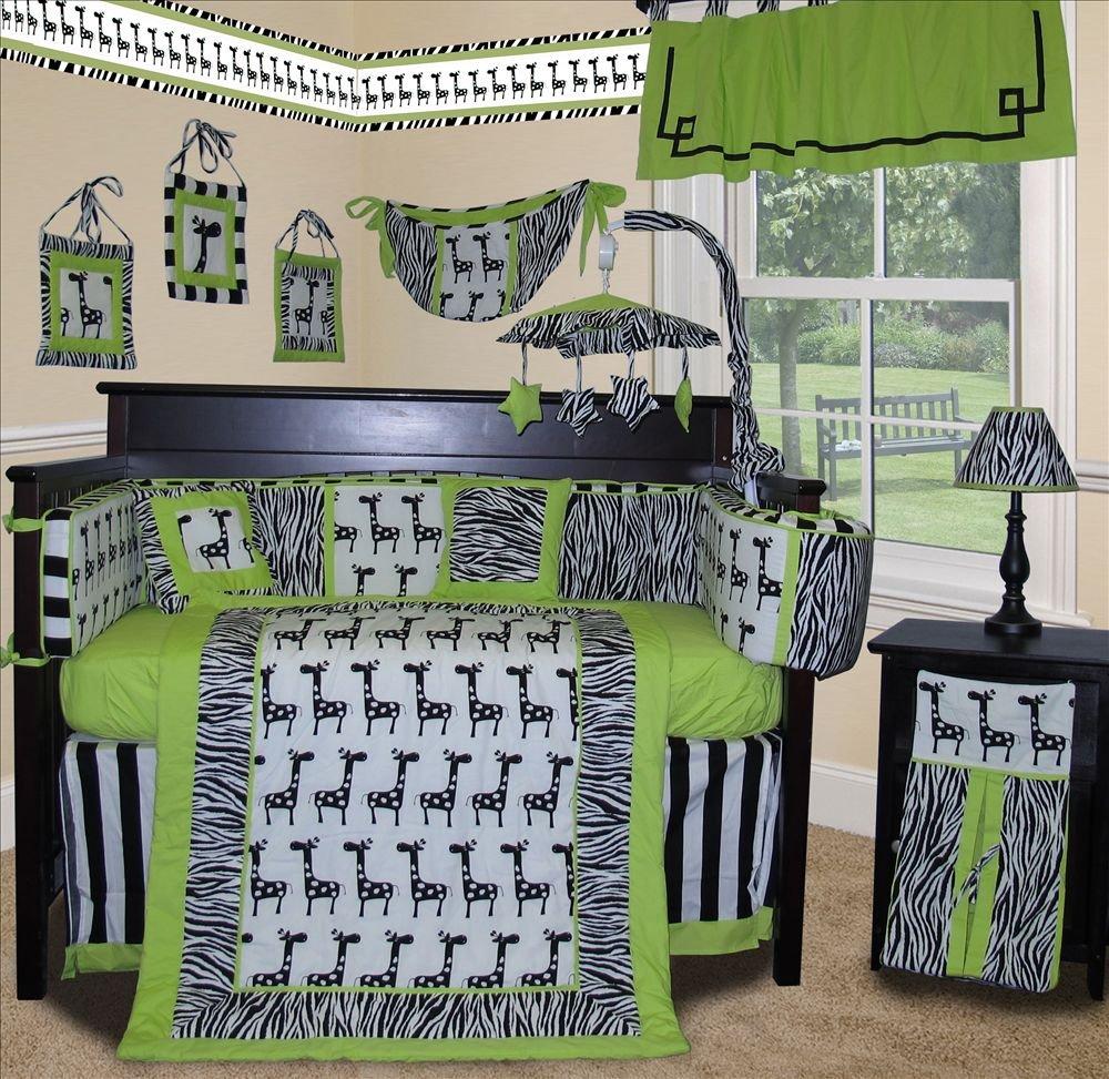 Sisi Lime Zebra Crib Bedding