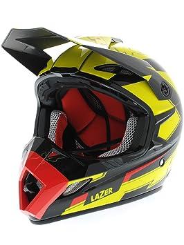 Casque Motocross Lazer MX8-Carbon Geotech Jaune-Fluorescent-Rouge