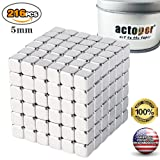 actoper Magnetic Cube 216pcs 5mm Magnets Blocks Multi-Use Square Cube Magnets Toy Stress Relief Toys for Kids (Tamaño: 5mm*216)