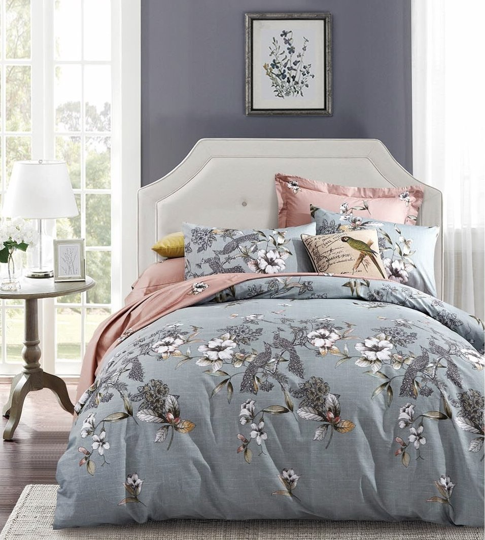 Exotic Modern Floral Print Bedding Birds Peacock Hummingbird Flowers Dusty Grey Design 100% Cotton Full Queen Duvet Cover 3pc Set Hibiscus Blossom Branches in Muted Gray Blue Full Queen Size 0