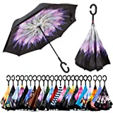 Spar. Saa Double Layer Inverted Umbrella with C-Shaped Handle, Anti-UV Waterproof Windproof Straight Umbrella for Car Rain Outdoor Use (Dahlias Flower) (Color: Dahlias Flower, Tamaño: X-Large)