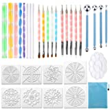 32PCS Mandala Dotting Tools Set with a Blue Zipper Waterproof Storage Bag for Painting Rocks