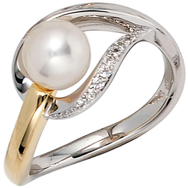 Damen-Ring 585 Bicolor Gold 1 Süßwasser-Perle 9 Diamanten bestellen