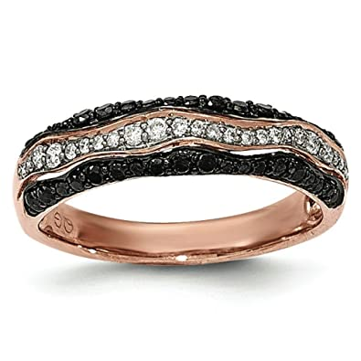 14ct Rose Gold Black and White Diamond Ring