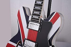 2019New SHOP Feeling Electric Jazz Guitar semi-hollow block inlay,Freeguitar tuner,Free bag,Free pick, Free strap (Union Jack transfer)