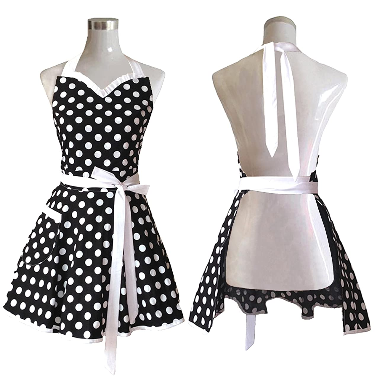 Lovely Sweetheart Black Retro Kitchen Aprons Woman Girl Cotton Polka Dot Cooking Salon Pinafore Vintage Apron Dress Gift 0