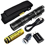 Nitecore MH12GT LED 1000 Lumen USB Rechargeable Flashlight, 18650 rechargeable Li-ion battery, USB charging cable, Holster with EdisonBright AC/CAR USB power adapters