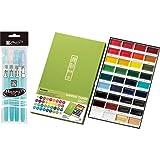 Kuretake MC2036V Gansai Tambi 36 Color Set (36Colors with 4 pens set) (Color: 36 Colors with 4 Warter brush pens)
