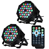 LUNSY DJ Par Lights, 36LEDs Stage Lighting Controlled by Remoter and DMX Control - 2 Pack (Color: 2 pack)
