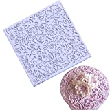 Anyana square sugar edible vine lace mold cake silicone Embossing Mat Textured fondant impression lace mat decorating mold gum paste cupcake topper tool icing candy imprint baking pastry sugarcraft (Color: square lace vine, Tamaño: 10.4*10.4*0.5cm)