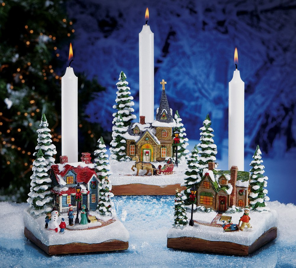 Winter Holiday Village Taper Candle Holders Carolers