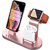 OLEBR 3 in 1 Charging Stand for iWatch Series 4/3/2/1, AirPods and iPhone Xs/X Max/XR/X/8/8Plus/7/7 Plus /6S /6S Plus/9.7 inches iPad (Original Charger & Cables Required) -Rose Gold (Color: Rose Gold Metal-Painted)