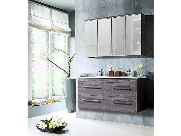 lavabo doppio COMOS Alova con lavandino - Marrone, Spiegel & Waschtisch