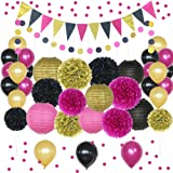 Hot Pink, Gold, and Black Party Decorations, 50 pc Party Supply Set, Paper Pom Pom Flowers, Paper Lanterns, Polka Dot Garland, Glitter Triangle Garland, Balloons, Confetti Decoration Kit (Hot Pink) (Color: Hot Pink)