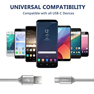 Short USB Type C Cable,OneKer(1ft 2-Pack) Portable USB-C Charger Nylon Braided Fast Charging Cord Compatible Samsung Galaxy S10 S9 S8 Plus Note 9 8,LG G5 G6 V20 30,Google Pixel 2 XL,Power Bank(Grey) (Color: (2*1FT)Gray, Tamaño: 1 Feet)