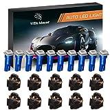 YITAMOTOR 10 Pack Blue T5 Wedge 73 74 led 5050 1-SMD Instrument Panel Gauge Cluster Dashboard LED Light Bulbs & 10 Twist Lock Socket (Color: Blue)