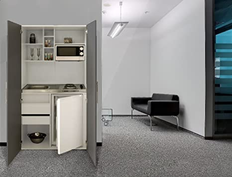 Office Kitchen Pantry Single respekta SKW Kitchenette Kitchenette Grey Ceramic White Front