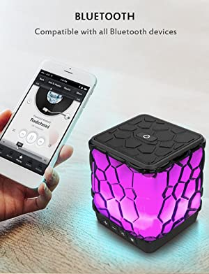 AOMAIS Star Bluetooth Speakers, Wireless Ultra Portable Color Changing LED Light Speaker with 7 Color LED Themes for Home Party, Outdoors, Backyard (Color: Colorful)