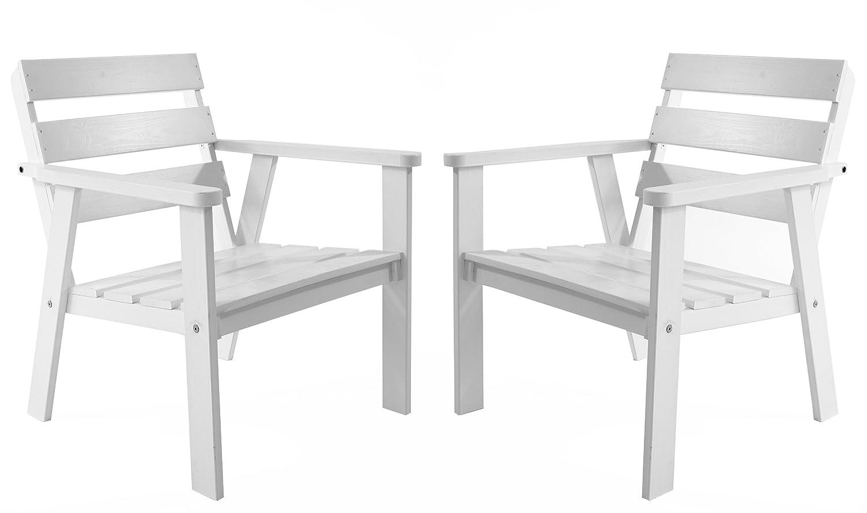 Ambientehome Gartensessel Loungesessel Sessel Gartenstuhl Massivholz HANKO, Weiß, 2-teiliges Set günstig bestellen
