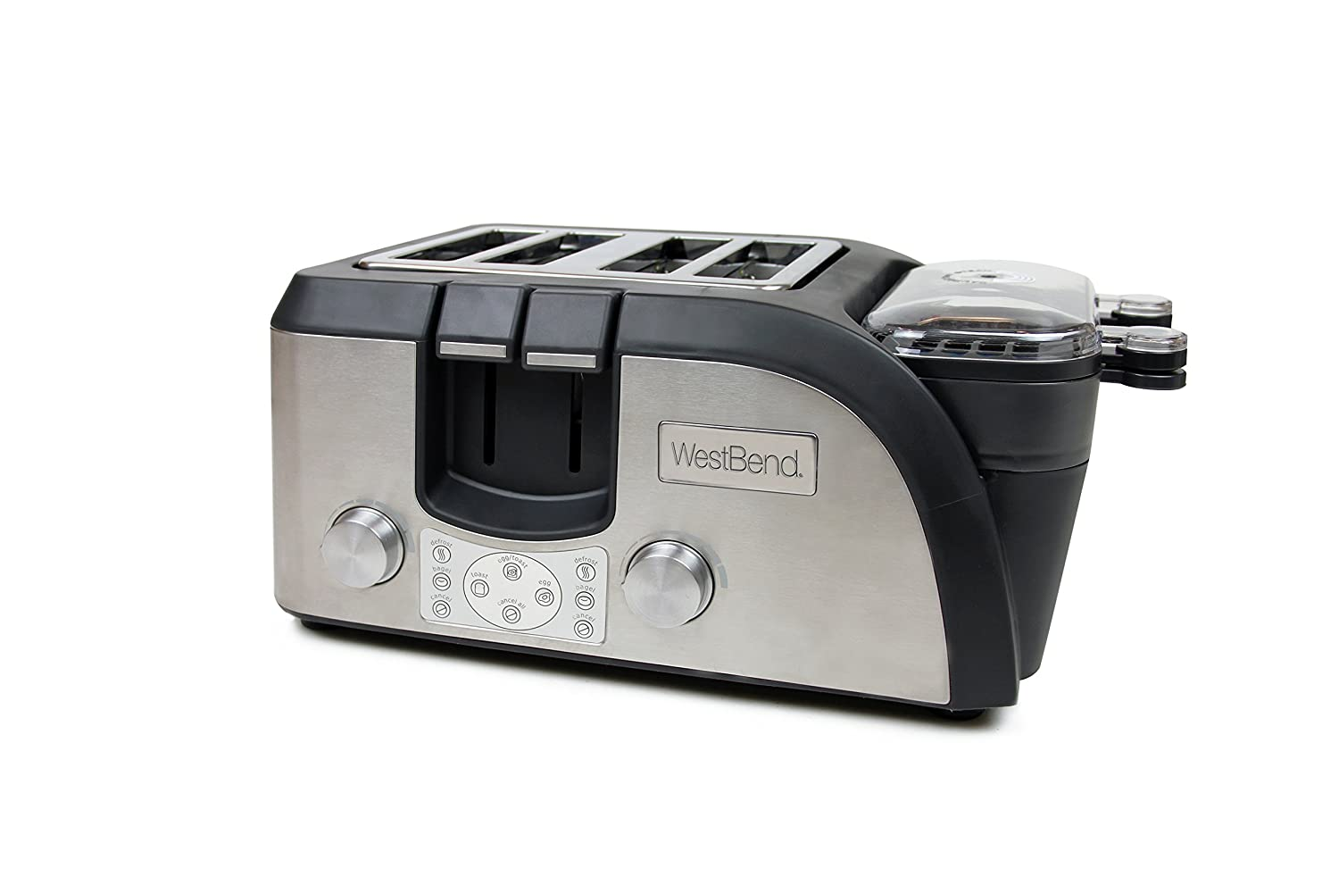 New West Bend TEMPR100 Platinum Breakfast Station Toaster Oven, Silver/Black