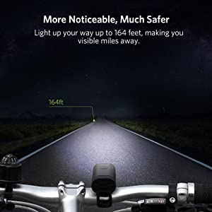 Thorfire Bike Light Super Bright Bike Headlight USB Rechargeable Bicycle Headlamp Headlight Water Resistant Bicycle Light with 7 Lighting Modes for Road Cycling Safety Flashlight