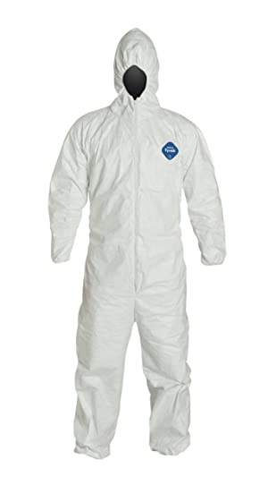 DuPont Tyvek 400 TY127S Disposable Protective Coverall with Respirator-Fit Hood and Elastic Cuff, White, Large (Pack of 25) (Color: White, Tamaño: Large)