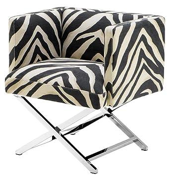 Casa Padrino sillón de club de lujo en el diseño cebra 68 x 57 x H. 74 cm - Muebles de Art Deco