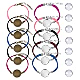 DROLE 40Pcs Bracelet Bezel Blanks Settings for Jewelry Making-20Pcs Silver and Bronze Color Jewelry Bezel Base Round Cabochon Bezel Tray Blank Bangles Bracelets with 20mm Glass Cabochons Mutil (Color: Multi-20mm C, Tamaño: 20mm)