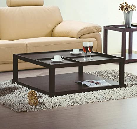 Parson Coffee Table with Removable Tray in Wenge