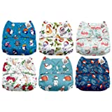 Mama Koala One Size Baby Washable Reusable Pocket Cloth Diapers, 6 Pack with 6 One Size Microfiber Inserts (Frosty) (Color: Frosty, Tamaño: One Size)